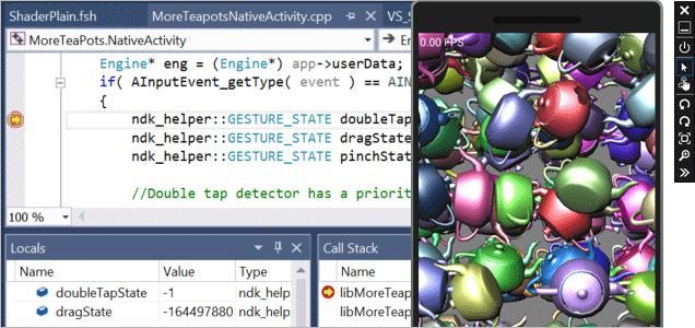 Screenshot of ShaderPlain.fsh MoreTeapotsNativeactivity.app