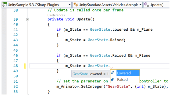 Screenshot of Unity scripts in C#
