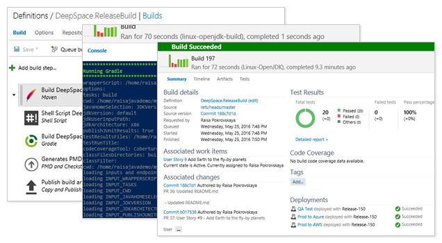 Screenshots showing Definitions to Build to Build Succeeded screens