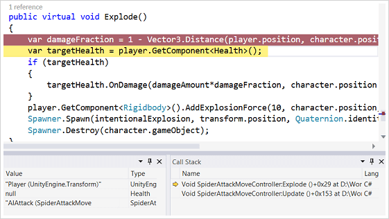 Screenshot of Debug in Visual Studio
