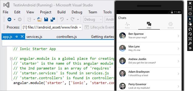 Screenshot of cross-platform mobile development