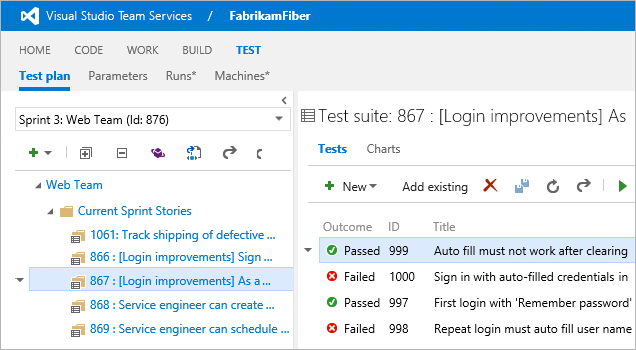 Screenshot of test case management