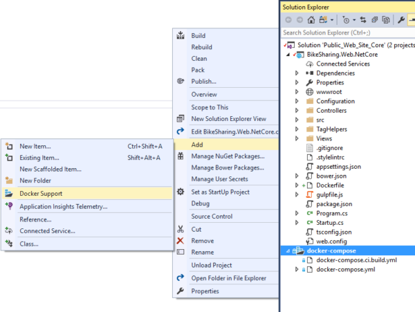 screenshot of Visual Studio's Container development tools