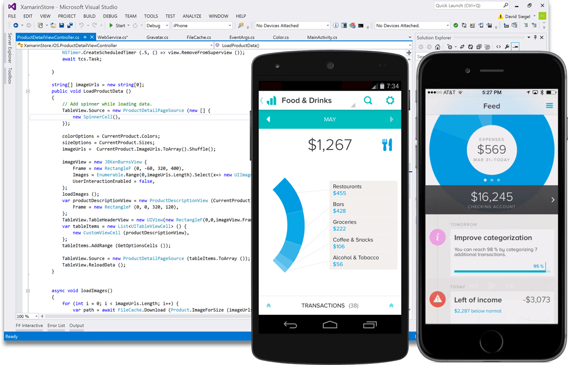 Screenshot of Visual Studio Professional 2017 mobile development