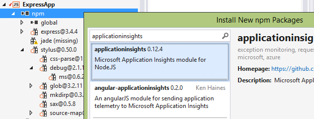 screenshot of npm integration