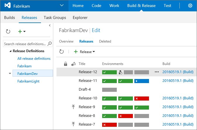 Screenshot of Release Management
