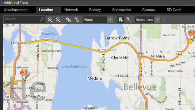 Map of Seattle and Bellevue to represent driving simulation