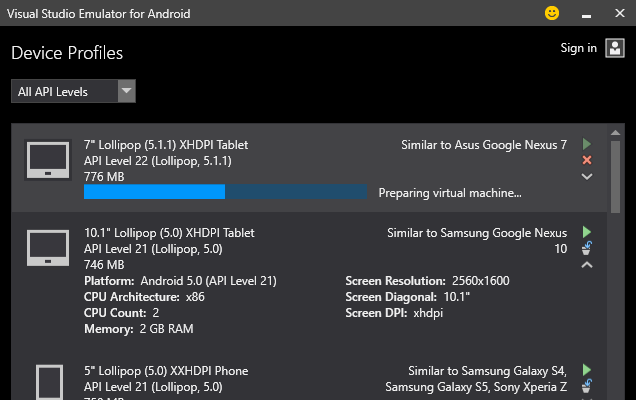 Screenshot showing sample device profiles
