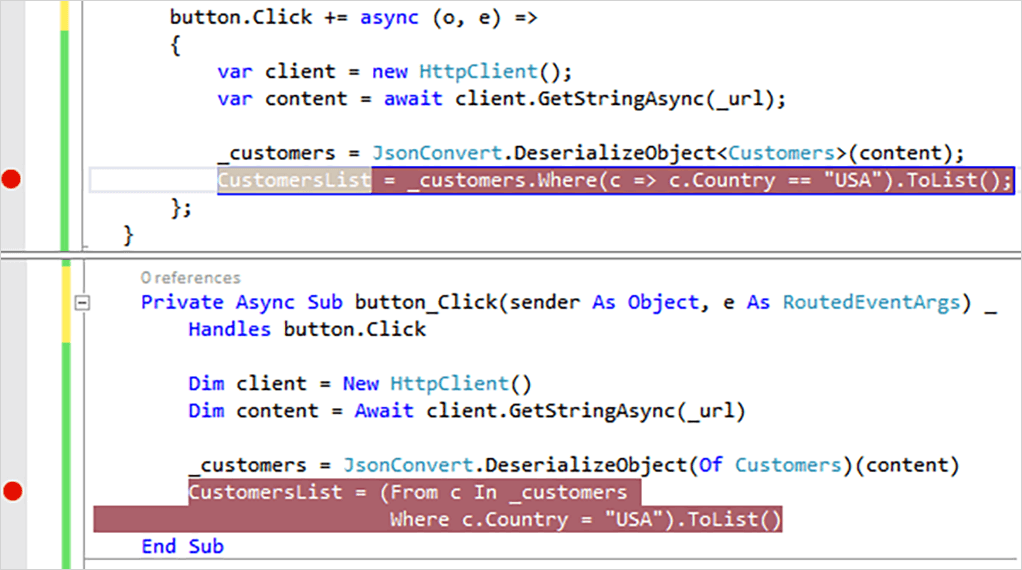 screenshot of C# and Visual Basic are programming