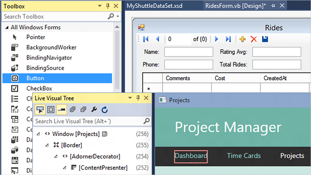 screenshot of WinForms and WPF