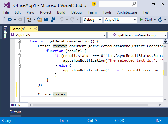 Screenshot di Intellisense