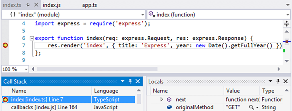 screenshot of TypeScript integration