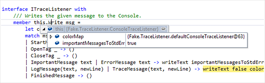 screenshot of F# programming language