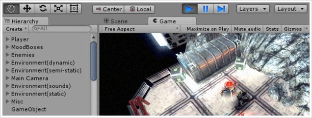 Screenshot of Unity game development with Visual Studio