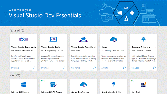 screenshot of Dev Essentials software trials and downloads