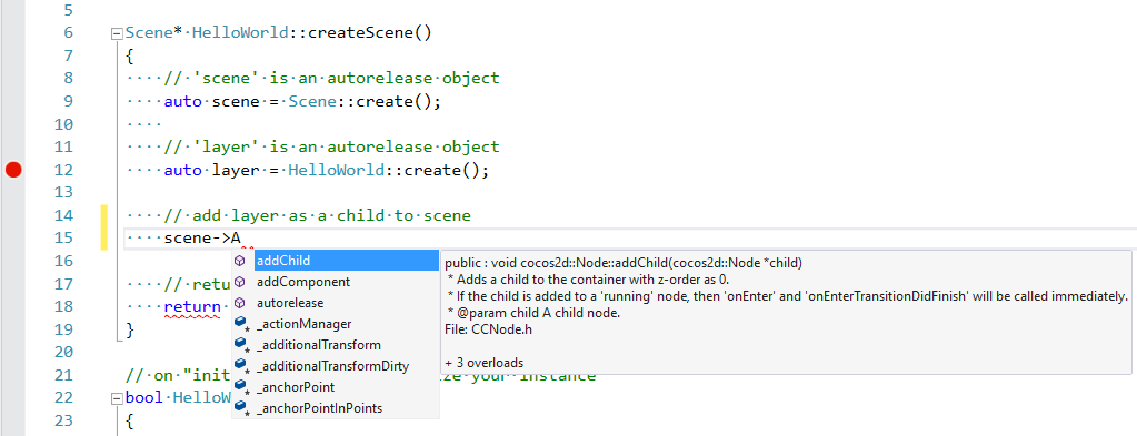 Cocos IntelliSense screenshot