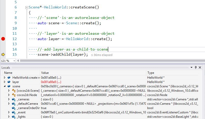 Cocos debugging screenshot
