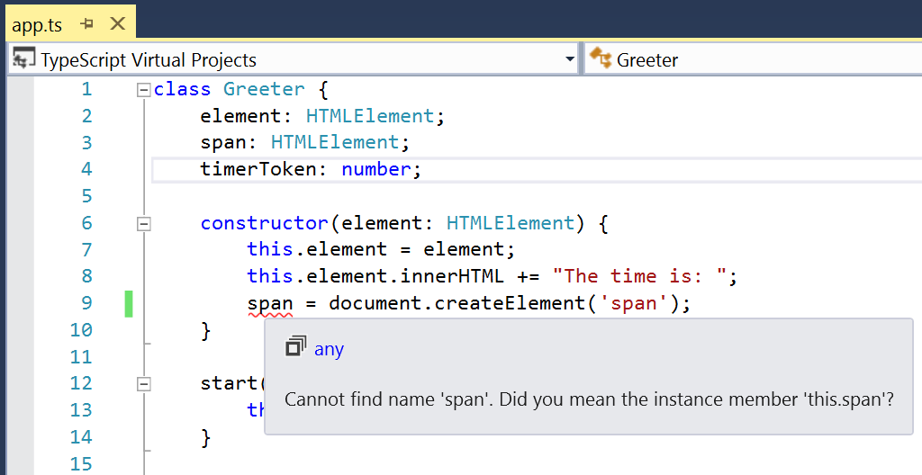 Screenshot di TypeScript