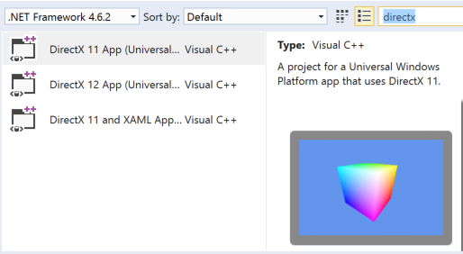 screenshot of DX templates in .NET Framework
