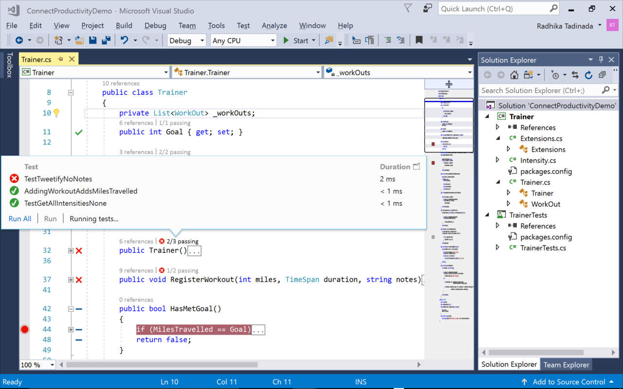 Screenshot of debugging and testing
