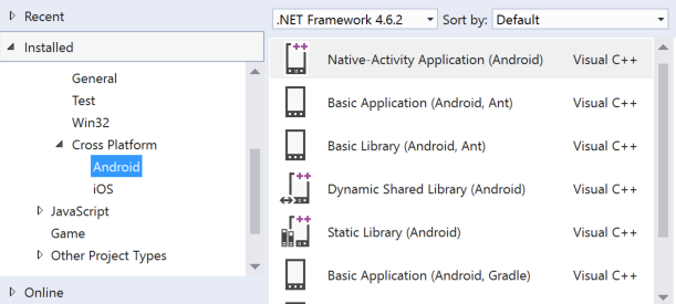 Screenshot of cross-platform mobile templates options