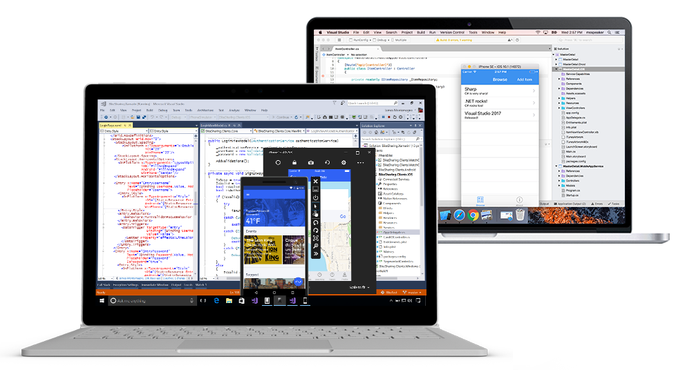 Screenshot of Visual Studio IDE on Windows and Mac