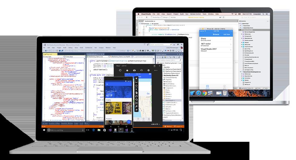 Screenshot of Visual Studio IDE on Windows and Mac