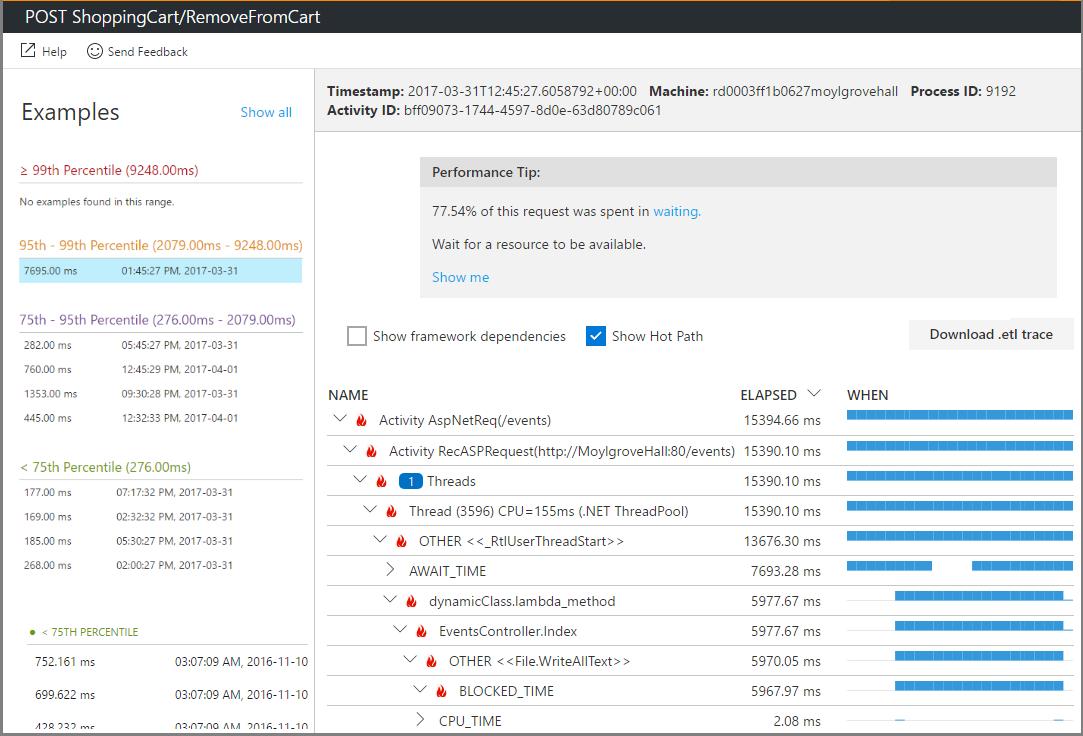 Captura de tela de solução de problemas de desempenho com a criação de perfis de produção