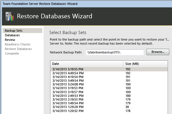 TFS restore database wizard