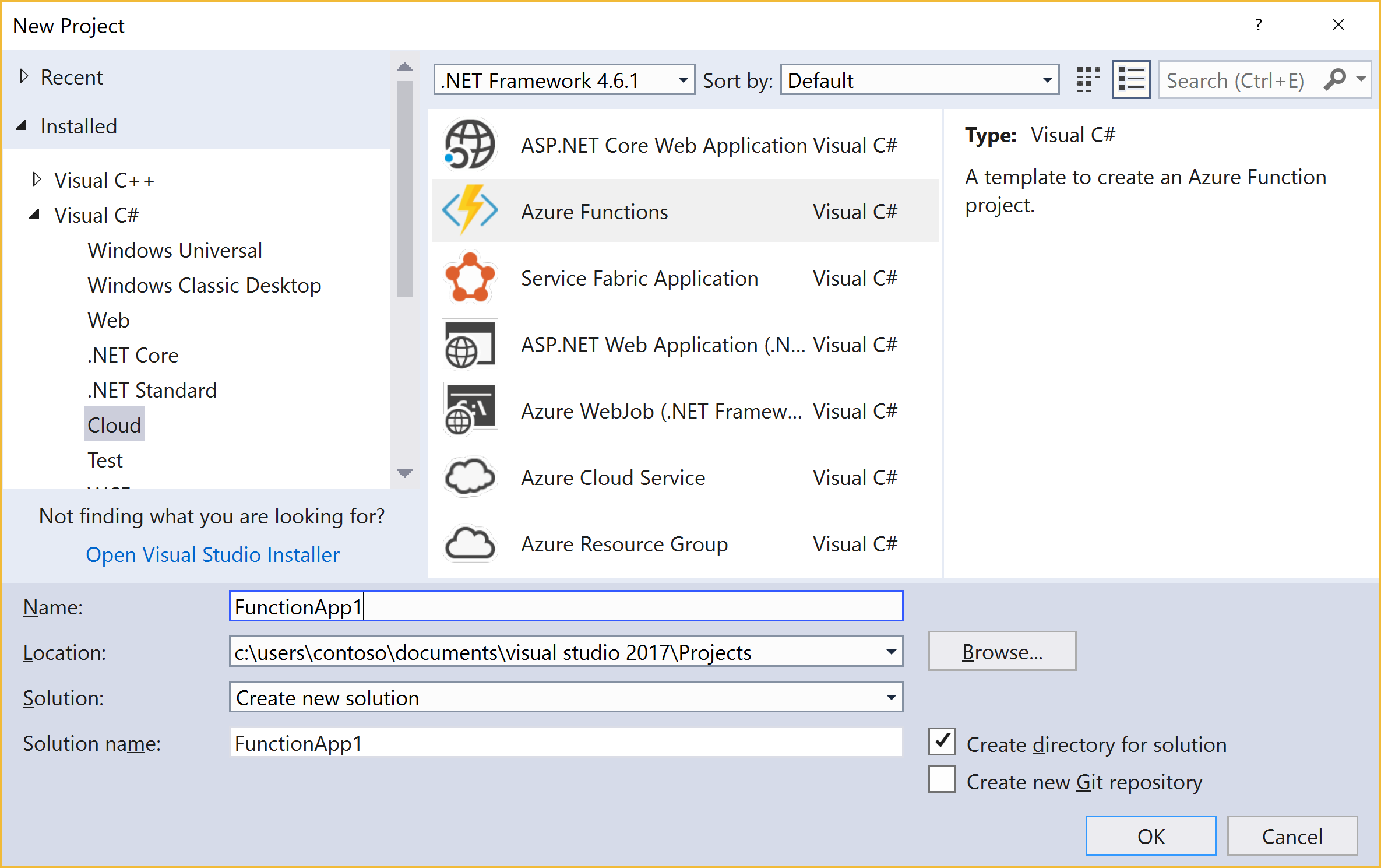 New project for Azure functions screenshot