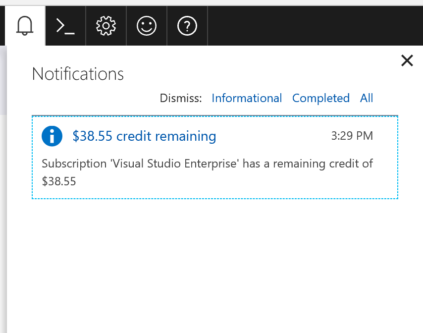 Screenshot of notification of credit remaining