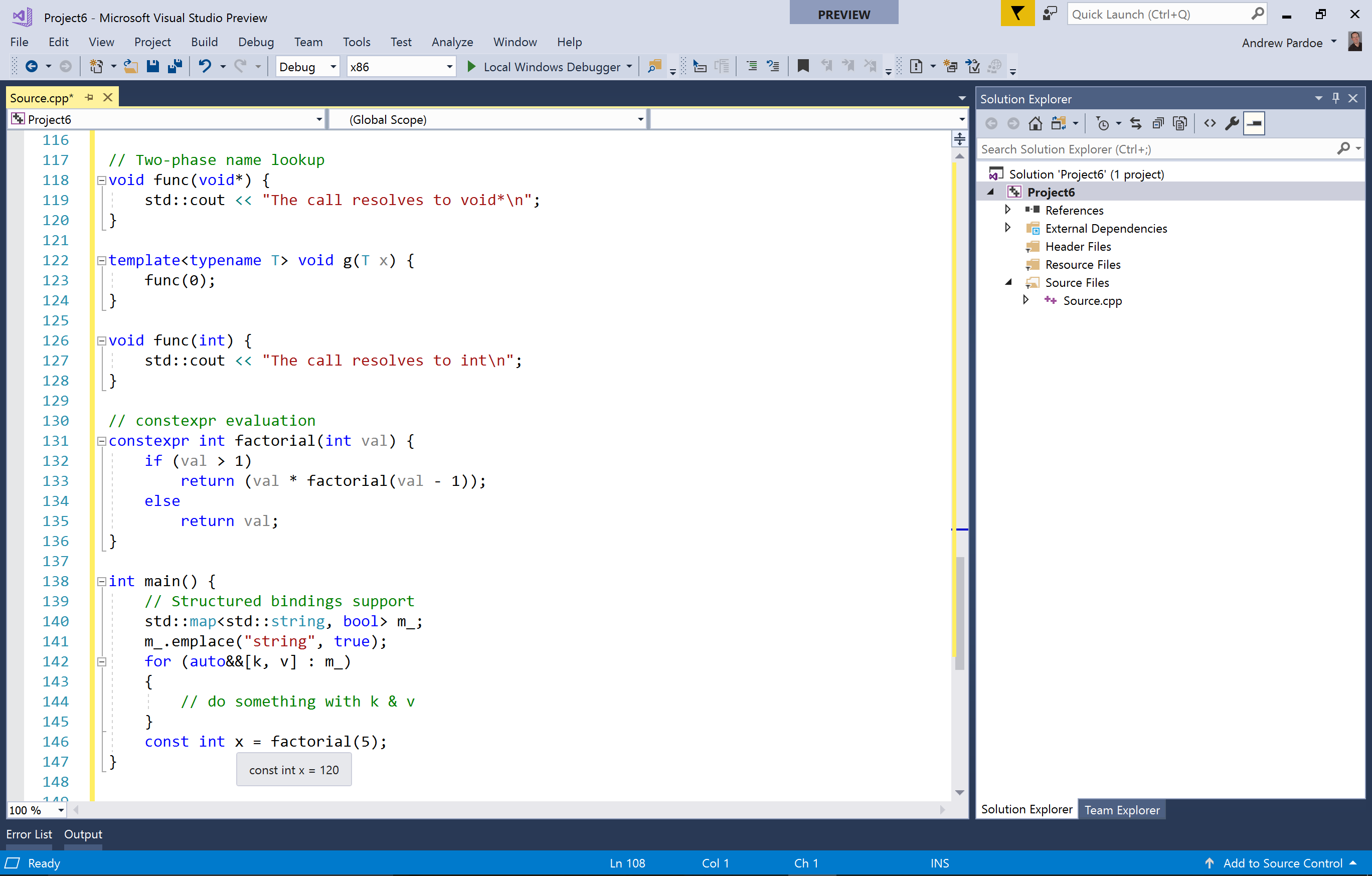 screenshot of support for C++11, C++14 and many C++17 features