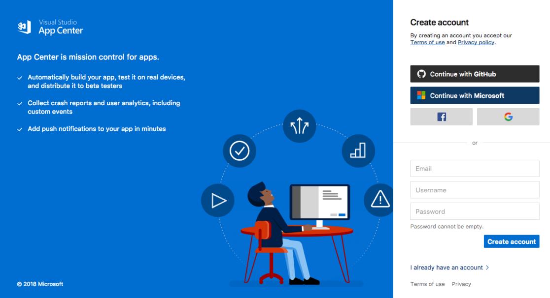 App Center login screenshot