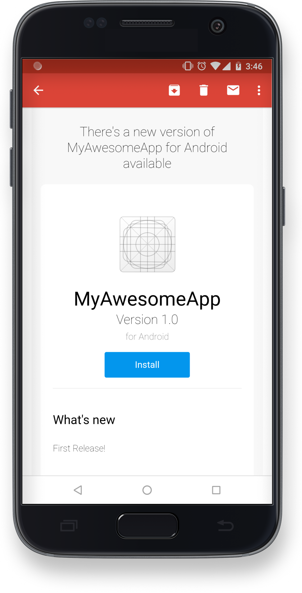 Image of your new awesome app on a Android device