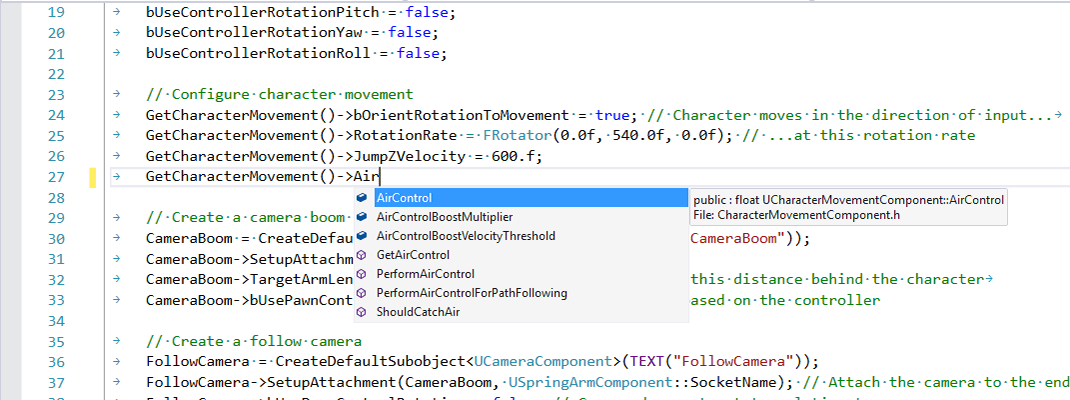 Unreal IntelliSense screenshot