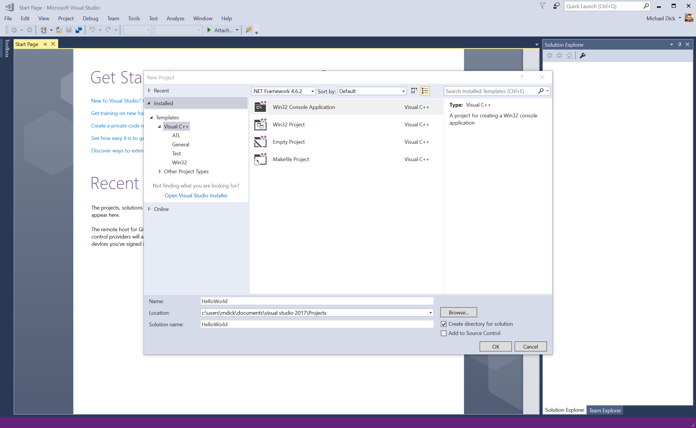 screenshot of Win32 Console Application