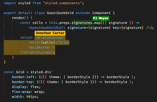 Screenshot of 2 users editing the same code section