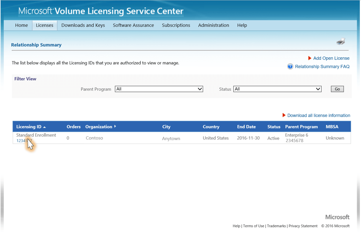 screenshot of VLSC Licenses window