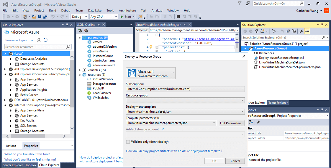 Azure development screenshot
