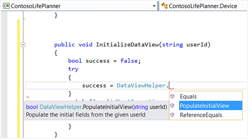 Screenshot editoru kódu IntelliSense