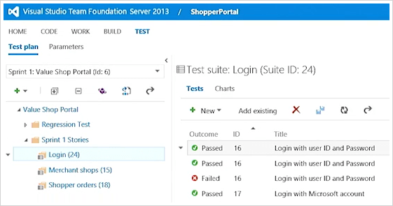Screenshot nástrojů Visual Studio Lab Management