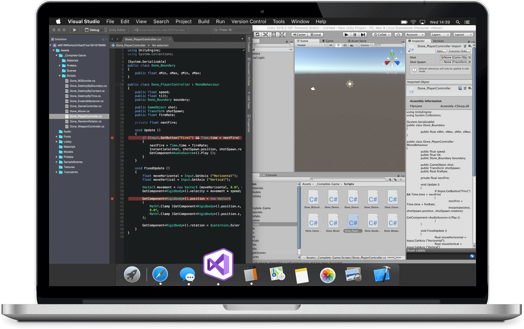 Macbook with Unity screenshot