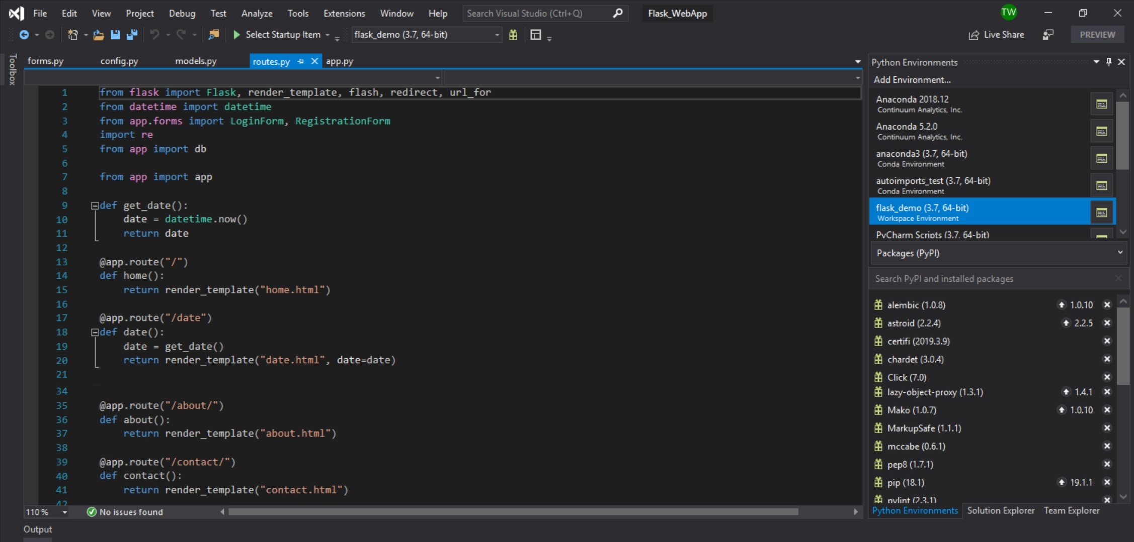 screenshot of python development