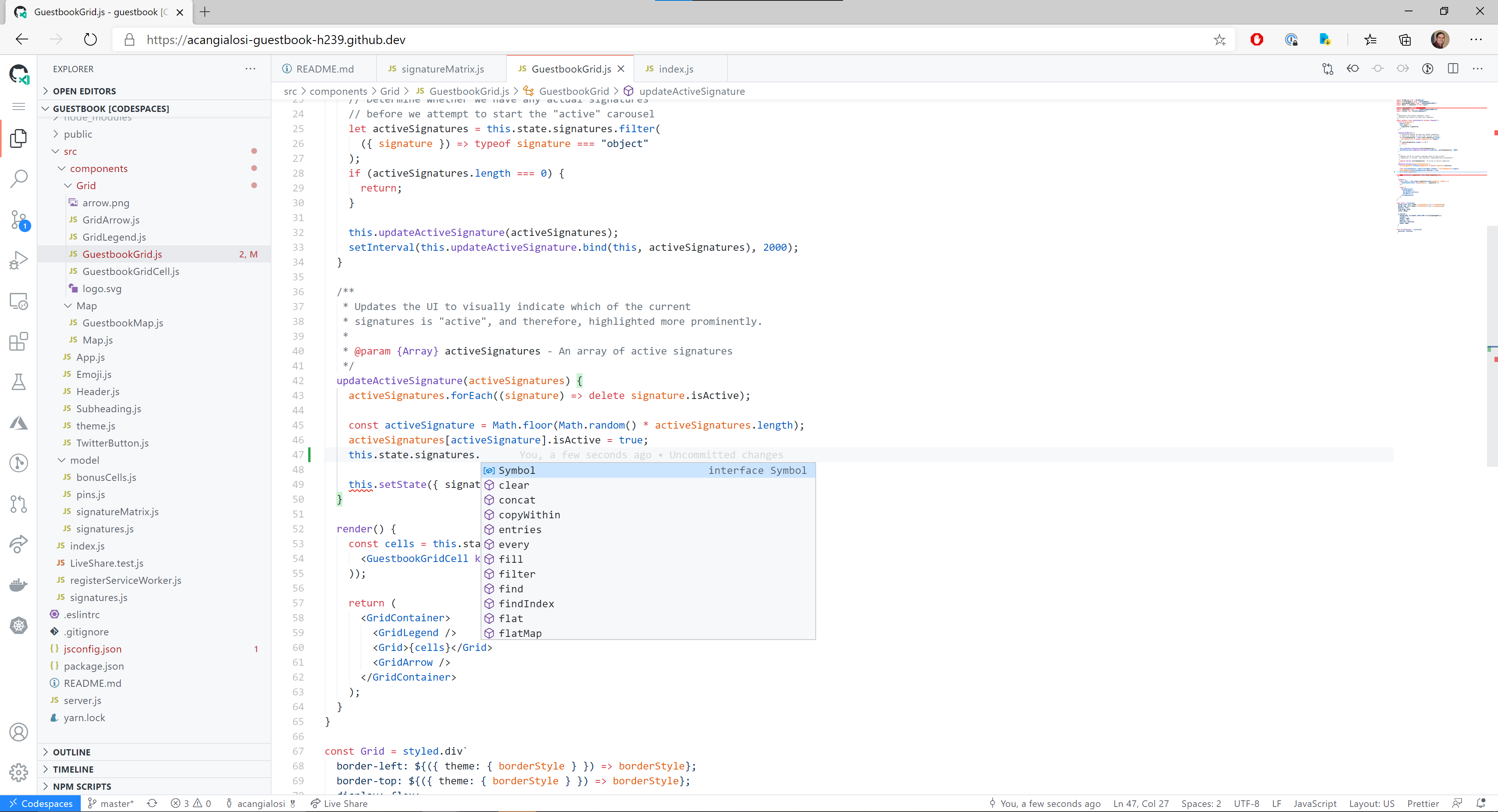 screenshot of GitHub Codespaces for browser