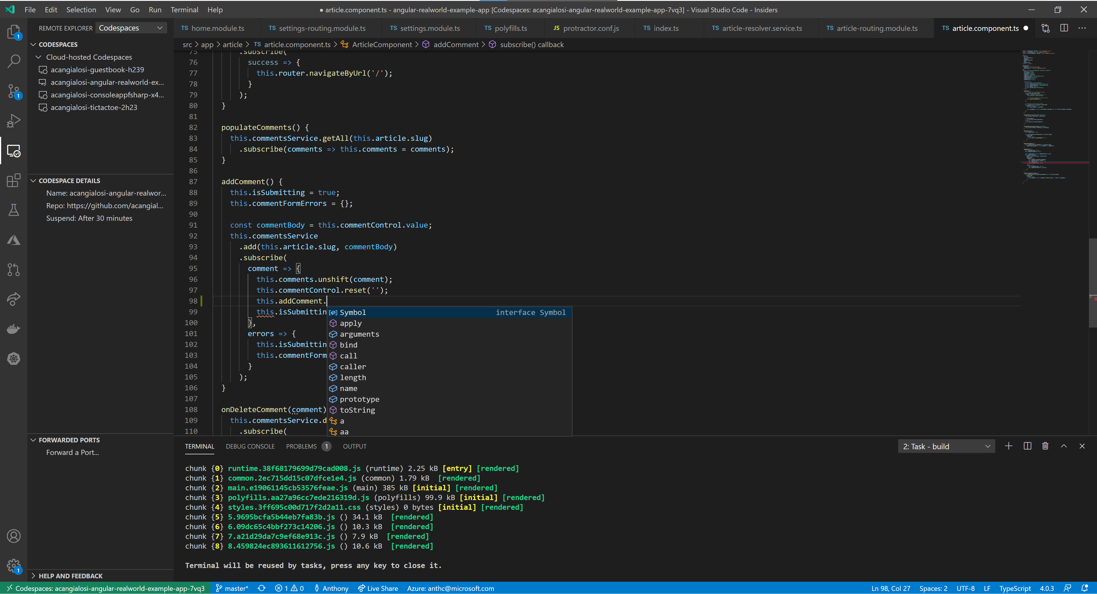 screenshot of GitHub Codespaces for Visual Studio Code