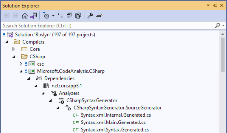 Screenshot of the Source Generators node in Solution Explorer